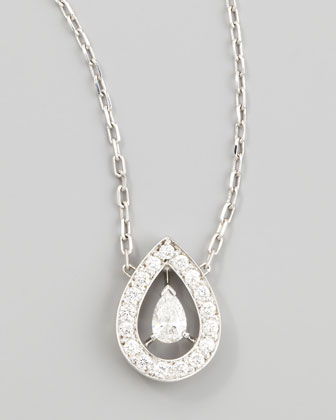 Ava 18k White Gold Pear Diamond Pendant Necklace, 0.53 TCW