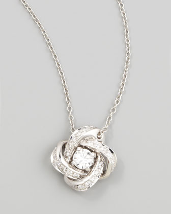 Ava 18k White Gold Diamond Pivoine Pendant Necklace, 0.36 TCW