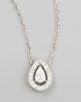 Ava 18k White Gold Pear Diamond Pendant Necklace, 0.74 TCW