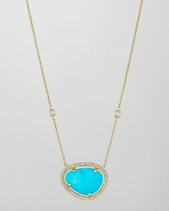 18k Turquoise & Diamond Pendant Necklace, 16