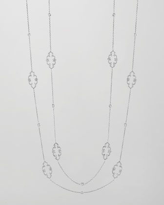 18k White Gold Arabesque Diamond Station Necklace, 36