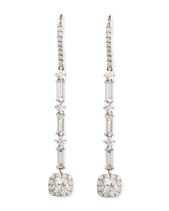 Deco 18k Gold Diamond Drop Earrings, 2.86 TCW