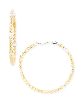 Swing Collection Diamond & Gold Ball Hoop Earrings