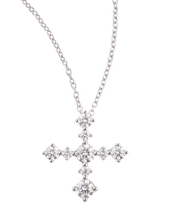 Anniversary Collection Diamond Cross Pendant Necklace, F/VS1-SI1, 0.63 TCW