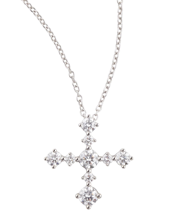 Anniversary Collection Diamond Cross Pendant Necklace, F/VS1 SI1, 0.63 TCW