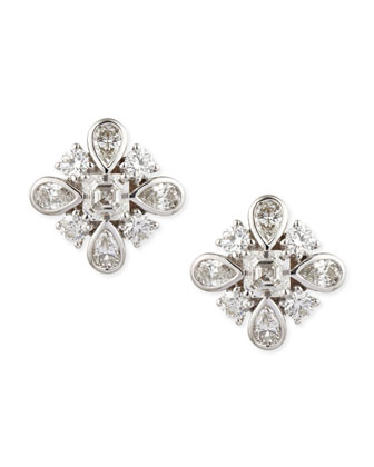 Princess Diamond Stud Earrings, D/IF-VVS2, 3.24 TCW