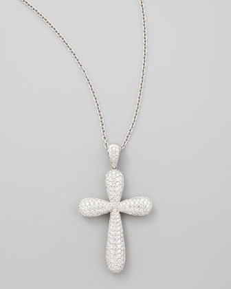 18k White Gold Large Pave Diamond Cross Pendant Necklace, 4.81ct