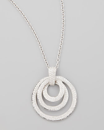 18k White Gold Diamond Triple Hoop Pendant Necklace