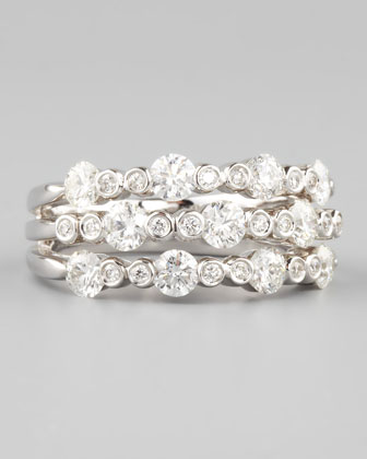 18k White Gold Diamond Three-in-One Band Ring