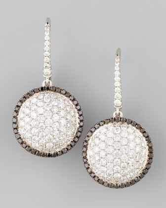 18k White Gold Black/White Diamond Round Dome Drop Earrings
