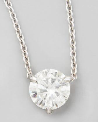 18k White Gold Diamond Solitaire Pendant Necklace, G-H/SI1 0.74ctw
