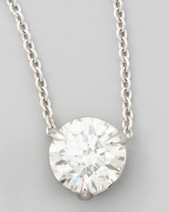 18k White Gold Diamond Solitaire Pendant Necklace, 1.01ctw H/SI1