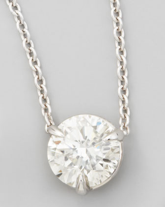 18k White Gold Diamond Solitaire Pendant Necklace, 1.00ctw H/SI1