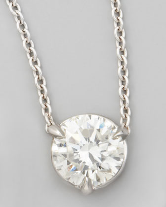 18k White Gold Diamond Solitaire Pendant Necklace