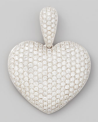 18k White Gold Pave Diamond Heart Pendant