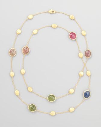 Siviglia 18K Gold Multicolor Sapphire Necklace, 36