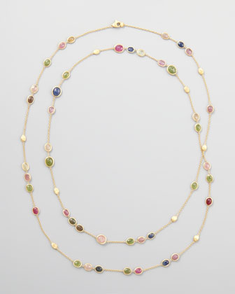 Siviglia 18k Multicolor Sapphire Station Necklace, 47