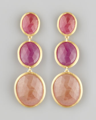 Siviglia 18k 3-Sapphire Drop Earrings