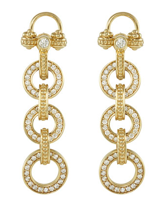 18k Gold Diamond Linked-Drop Earrings