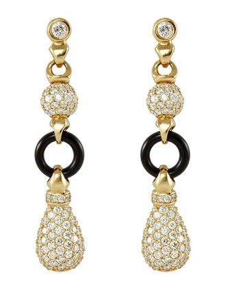 18k Diamond & Black Agate Earrings