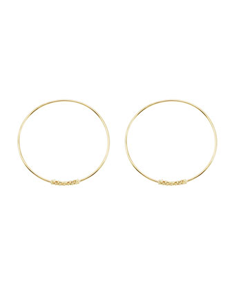 18k Caviar-Closure Hoop Earrings, 30mm