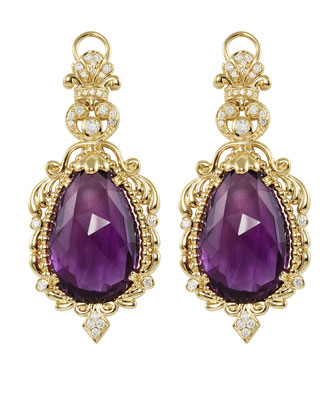 18k Baroque Amethyst & Diamond Drop Earrings