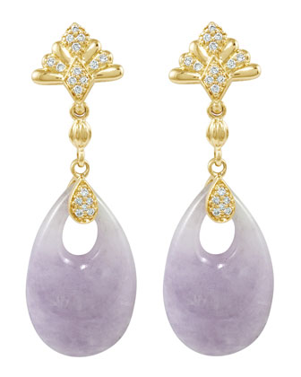 18k Diamond & Lavender Jade Earrings
