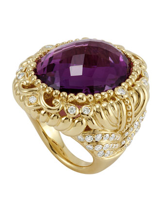18k Baroque Amethyst & Diamond Ring