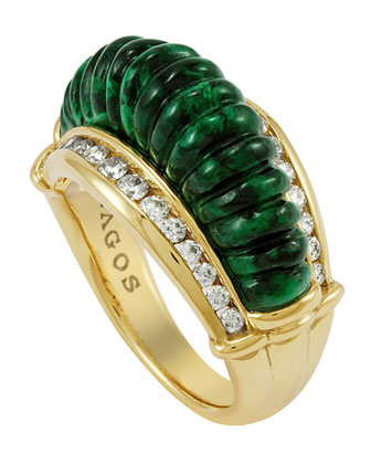 18k Fluted Jade & Diamond Ring