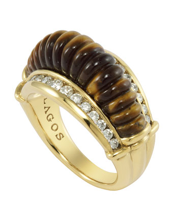 18k Fluted Tiger's Eye & Diamond Ring