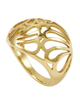 18k Gold Petal Filigree Ring, 18mm