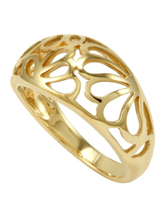 18k Gold Petal Filigree Ring, 11mm
