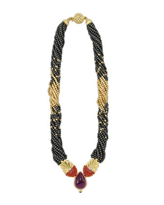 18k Gold & Hematite Beaded Necklace, 16