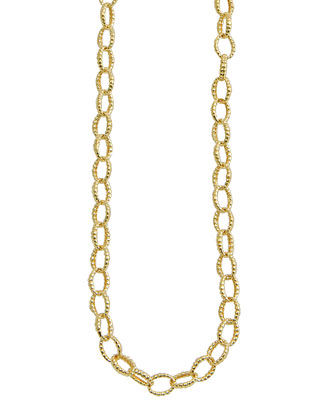 18k Oval Fluted Link Necklace, 18