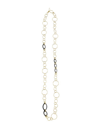 18k Gold & Black Agate Link Necklace