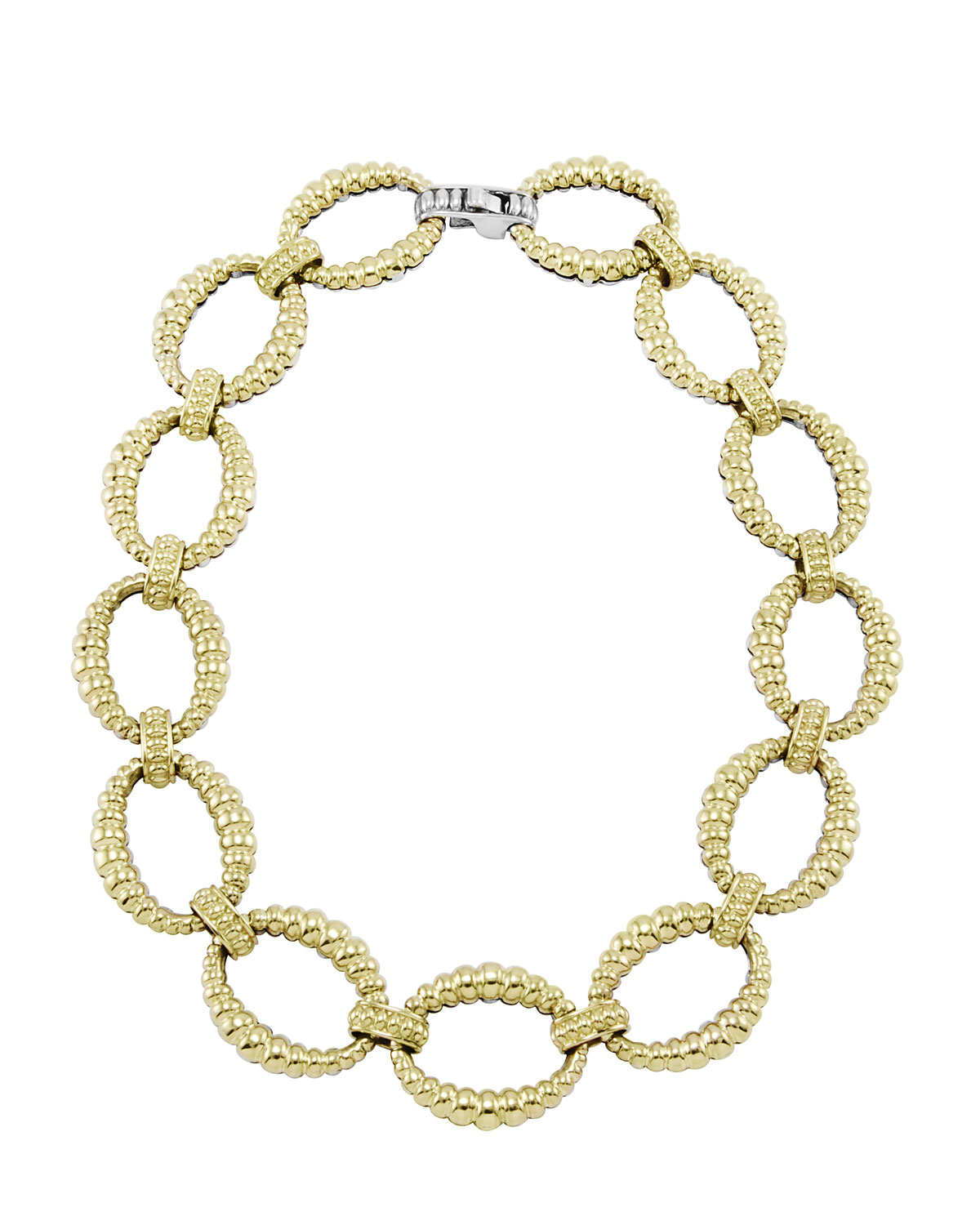 Reversible 18k Gold/Sterling Silver Link Necklace   Lagos   Silver (18k )