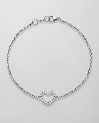 Eden 18k White Gold Diamond Heart Bracelet