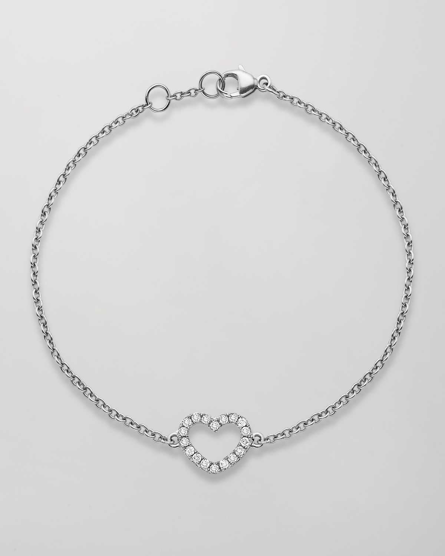 Eden 18k White Gold Diamond Heart Bracelet   Kiki McDonough   White (18k )