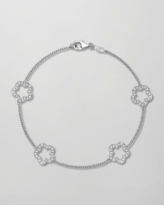 Eden 18k White Gold Diamond Four-Flower Bracelet