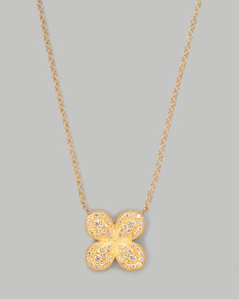 Scalloped Pave Diamond Flower Necklace