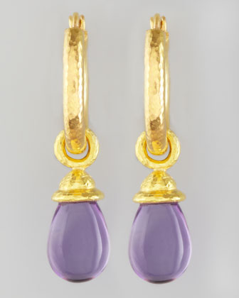 18k Gold & Amethyst Earring Pendants