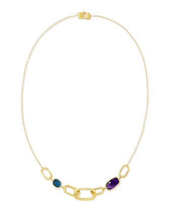 Murano 18k Amethyst & London Blue Topaz Necklace, 18