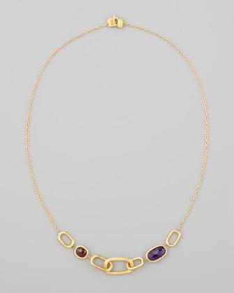 Murano 18k Amethyst & Rhodolite Garnet Necklace, 18