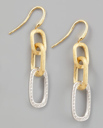 Murano 18k Brushed Gold & Diamond Link Drop Earrings