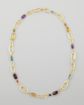 Murano 18k Multi-Stone Large-Link Necklace, 27