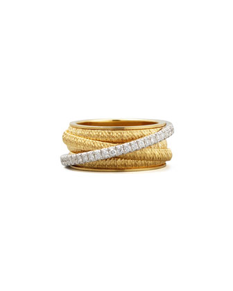 Diamond Cairo 18k Five-Strand Ring with Diamond Accent