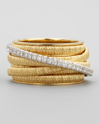 Diamond Cairo 18k Seven-Strand Ring with Diamond Accent