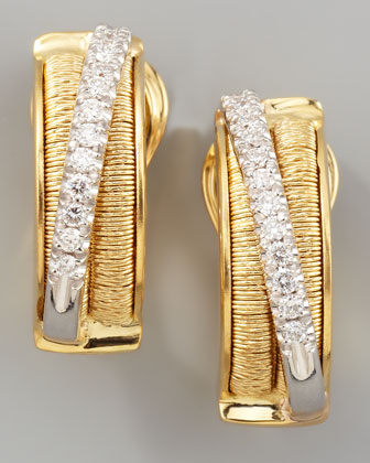 Diamond Cairo 18k Small Huggie Earrings with Diamonds
