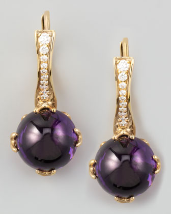 Jelly Bean Round Amethyst & Diamond Earrings, 0.22 TCW