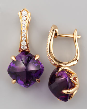 Jelly Bean Amethyst Cushion & Diamond Earrings, 0.22 TCW